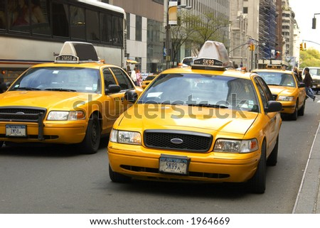 yellow cabs in NYC - stock photo
