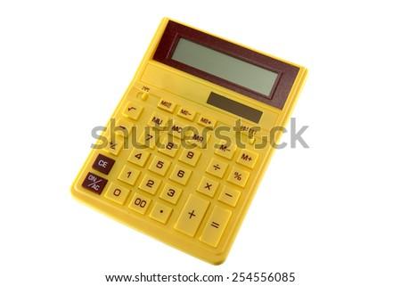 yellow calculator - stock photo