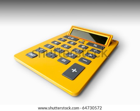 Yellow calculator isolated on white floor background - stock photo