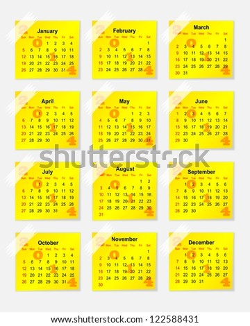 Yellow calendar for 2014 as stickers - illustration
