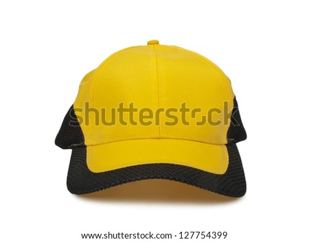 yellow cap with black border isolated on white background - stock photo