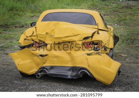 Yellow Car accident-MAY 13:car Ancient of Expessway on May 13,2015 in Bangkok city,Thailand - stock photo