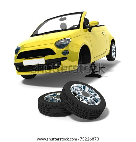 yellow car and tire changing on white background - stock photo