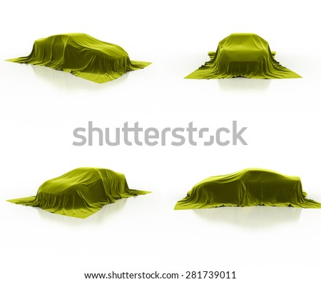 yellow car covered cloth - stock photo