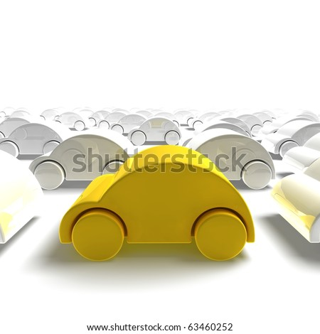 yellow car traffic - 3D render - stock photo