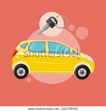 Yellow car with a key. Rent a car concept in flat design cartoon style on stylish background. Raster version