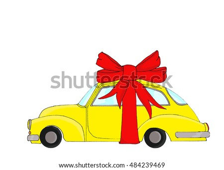 Yellow car with Christmas gifts on its roof