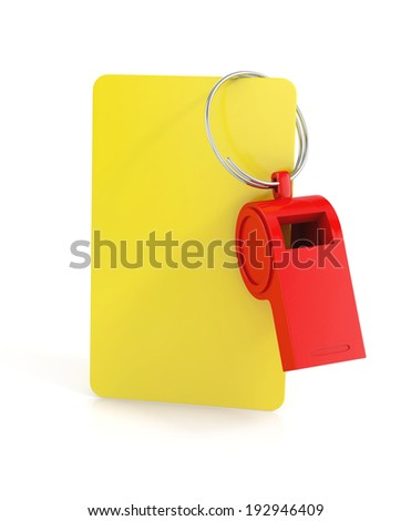 yellow card, and a whistle isolated on white background. football concept. 3d illustration - stock photo