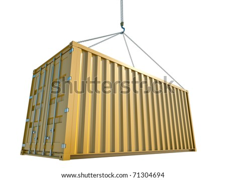 Yellow cargo container being hoisted. 3D rendering. - stock photo
