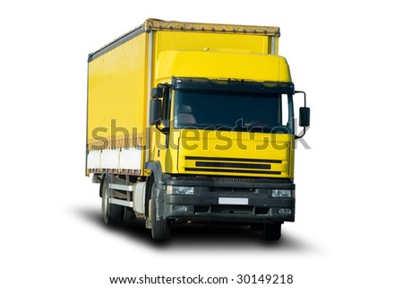 Yellow Cargo Truck - stock photo
