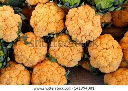 yellow cauliflower organic and fresh - stock photo