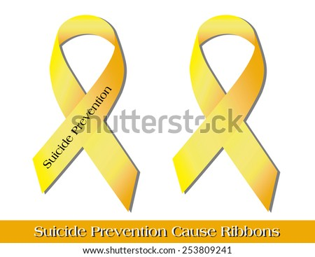 "Yellow ""cause ribbons"" -- Suicide Prevention.  High-resolution raster JPG. - stock photo"