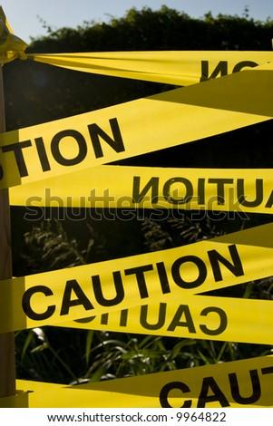 Yellow caution sign - stock photo