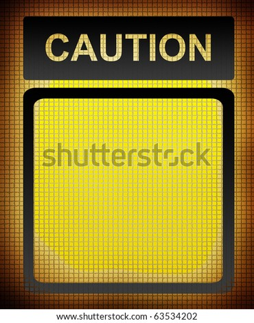 Yellow caution sign with space to insert text or design