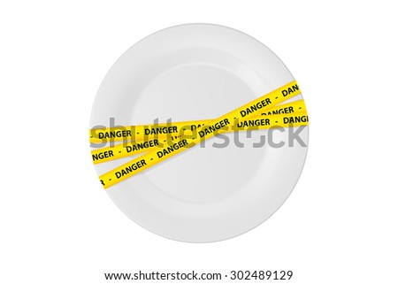 Yellow caution tape strips with text of danger on a white flat plate, isolated on white background. - stock photo