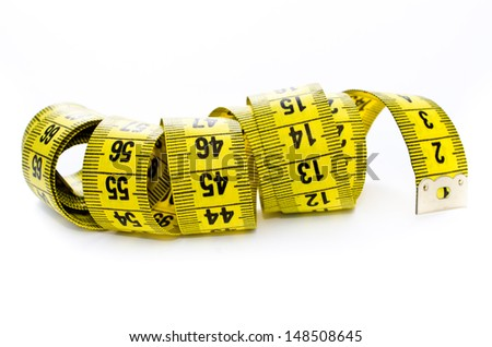 yellow centimeter isolated on a white background