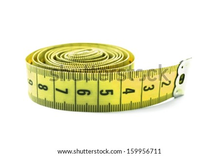 Yellow centimeter measuring tape on white background