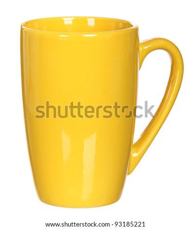 Yellow ceramic mug isolated on a white background - stock photo