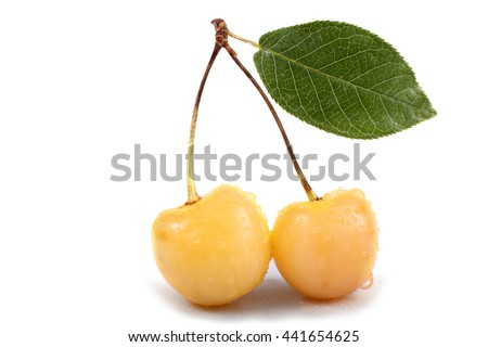 Yellow cherry with leaf