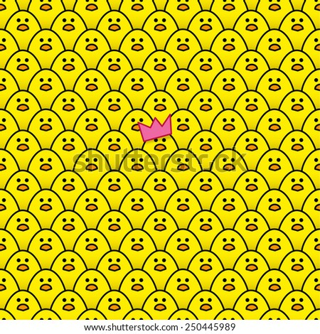 Yellow Chick wearing Pink Paper Party Hat surrounded by other identical chicks - Raster - stock photo