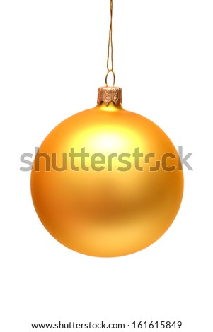 Yellow christmas ball isolated on white background - stock photo