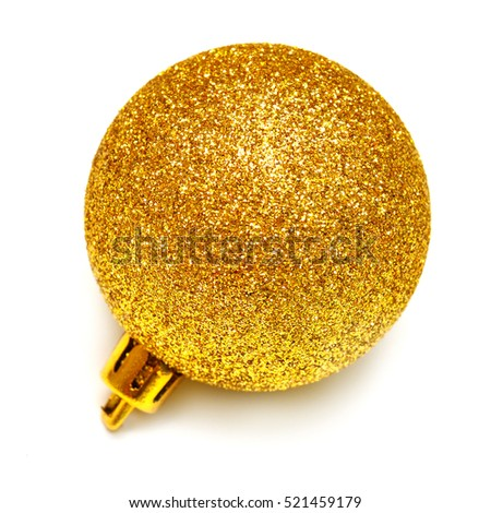 Yellow christmas ball isolated on white background. Flat lay, top view.