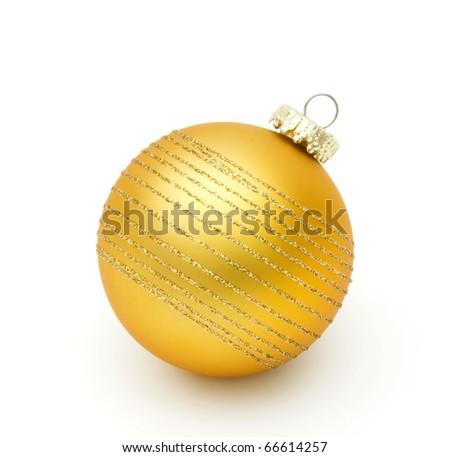 yellow christmas ball on white - stock photo