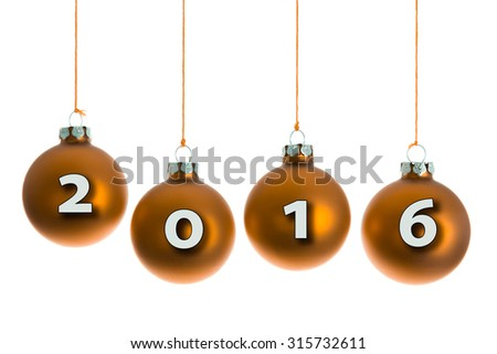 Yellow Christmas balls hanging at a rope with text 2016 - stock photo