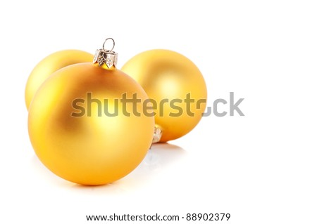 yellow christmas balls isolated on a white background - stock photo