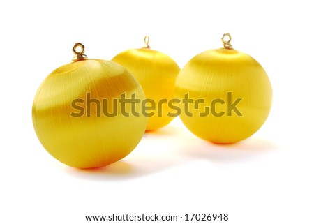 Yellow christmas balls isolated on white