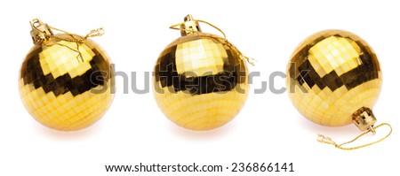 yellow christmas balls on white background - stock photo
