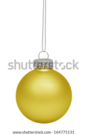 Yellow christmas bauble isolated on white background - stock photo