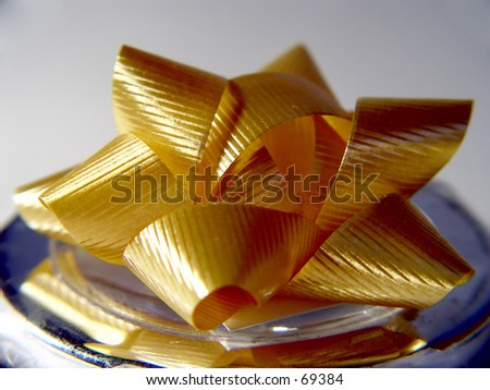 Yellow Christmas Bow Isolated on white background