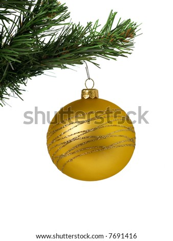 Yellow christmas decoration ball on white