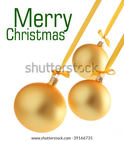 Yellow christmas glass balls on white background. Space for text isolated on white.