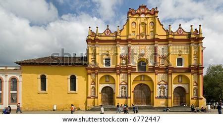 Yellow Church in San Cristobal las Casas, Chiapas Mexico - stock photo