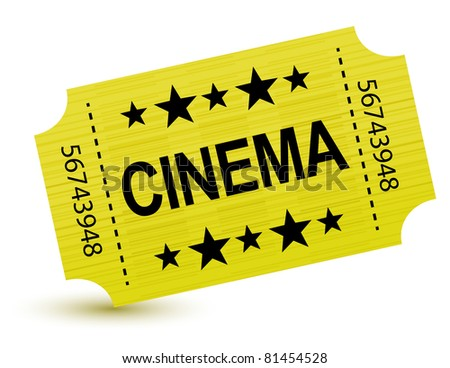Yellow cinema ticket illustration design over white - stock photo