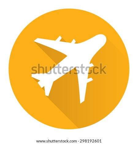 Yellow Circle Aeroplane, Airplane, Airport, Landing Field, or Logistics Flat Long Shadow Style Icon, Label, Sticker, Sign or Banner Isolated on White Background - stock photo