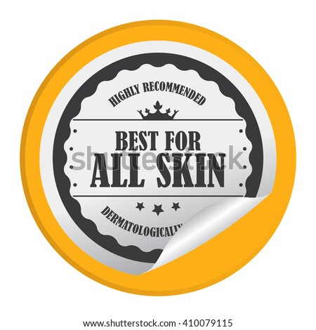 Yellow Circle Best For All Skin Highly Recommended Dermatologically Tested - Product Label, Campaign Promotion Infographics Flat Icon, Peeling Sticker, Sign Isolated on White Background  - stock photo