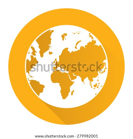Yellow Circle Earth Planet Flat Long Shadow Style Icon, Label, Sticker, Sign or Banner Isolated on White Background - stock photo