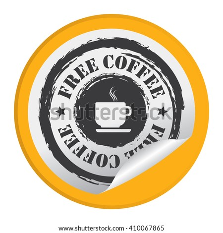 Yellow Circle Free Coffee - Product Label, Campaign Promotion Infographics Flat Icon, Peeling Sticker, Sign Isolated on White Background  - stock photo