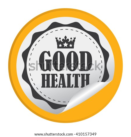 Yellow Circle Good Health - Product Label, Campaign Promotion Infographics Flat Icon, Peeling Sticker, Sign Isolated on White Background  - stock photo