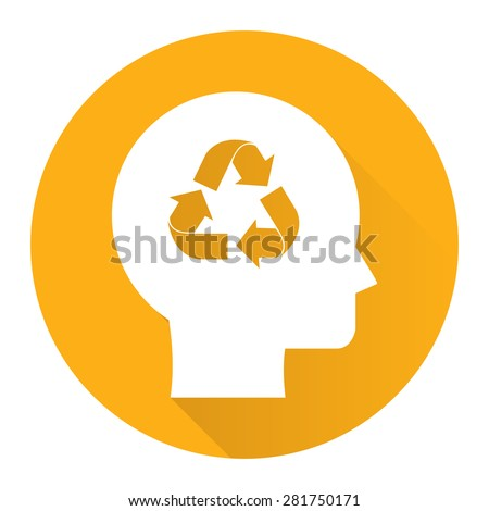 Yellow Circle Head With Recycle Arrow Flat Long Shadow Style Icon, Label, Sticker, Sign or Banner Isolated on White Background - stock photo