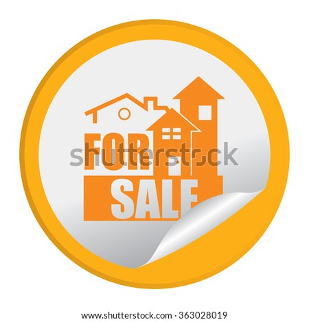 Yellow Circle Home or Office For Sale Product Label, Infographics Flat Icon, Peeling Sticker, Sign Isolated on White Background  - stock photo