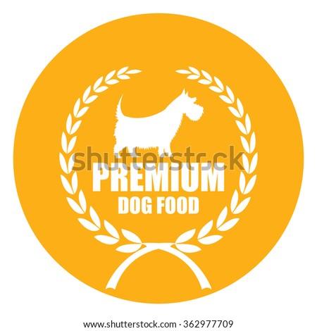 Yellow Circle Premium Dog Food, Dog Food Product Label, Infographics Flat Icon, Sign Isolated on White Background  - stock photo