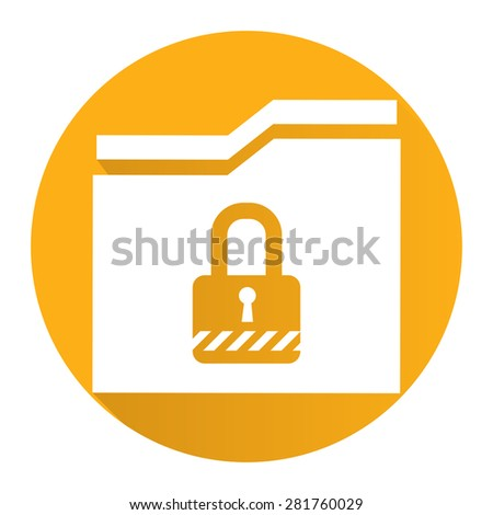 Yellow Circle Secret Folder or Data Permission Security Long Shadow Style Icon, Label, Sticker, Sign or Banner Isolated on White Background