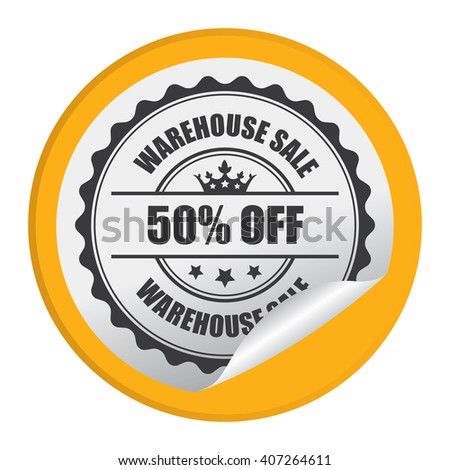 Yellow Circle Warehouse Sale 50% Off Product Label, Campaign Promotion Infographics Flat Icon, Peeling Sticker, Sign Isolated on White Background  - stock photo