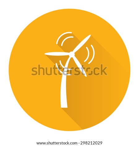 Yellow Circle Wind Turbine, Wind Energy, Wind Power Technology Flat Long Shadow Style Icon, Label, Sticker, Sign or Banner Isolated on White Background - stock photo