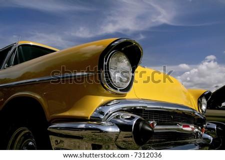 Yellow Classic Car - stock photo