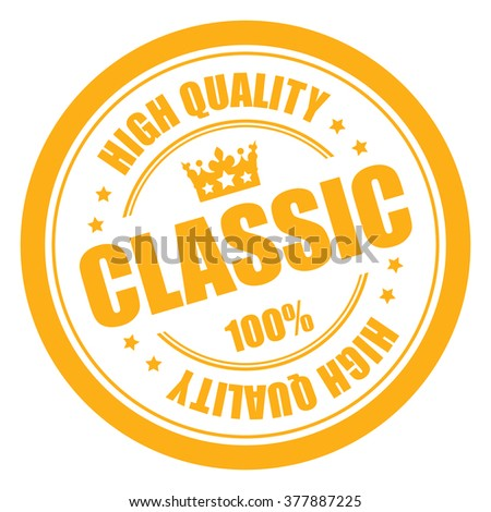 Yellow Classic 100% High Quality Campaign Promotion, Product Label, Infographics Flat Icon, Sign, Sticker Isolated on White Background